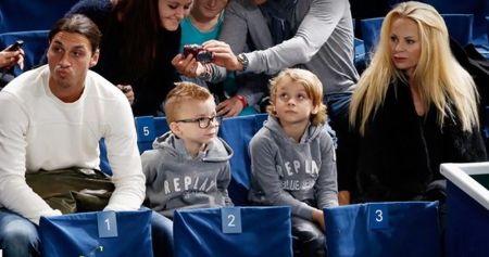 Helena Seger with her husband, Zlatan Ibrahimović, and their two sons