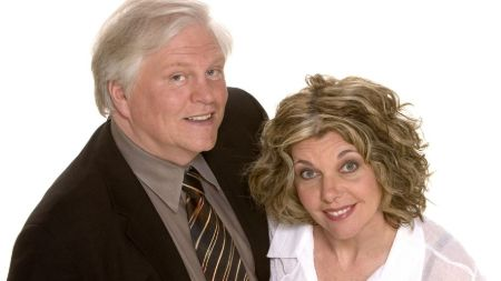 The deceased comedian, Bob Robertson, and his widow, Linda Cullen
