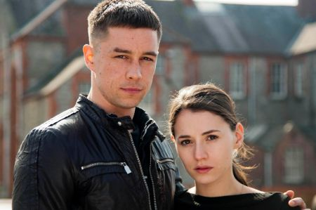 Charlie Murphy alongside her Love/Hate co-star during the shoot  Image Source: The Irish Sun